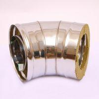 Сэндвич-колено дымохода (нержавеющая сталь 0,8 мм + нержавеющая сталь) 135° Ф200х100