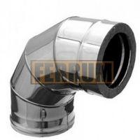Сэндвич-колено дымохода (нержавеющая сталь 0,5 мм + нержавеющая сталь) 90° Ф160х80