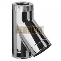 Сэндвич-тройник дымохода (нержавеющая сталь 0,5 мм + нержавеющая сталь) 135° Ф210х150