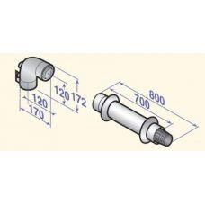 Горизонтальное коаксиальное окончание Д 60/100 мм L= 800 мм DTX 100016485 (Арт.:DTX 100016485)