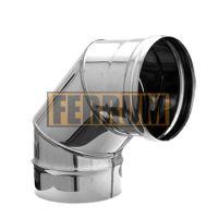 Колено дымохода (нержавеющая сталь 0,5 мм) 4 секции угол 90° Ф140