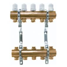 Блок коллекторный 1 1/4 на 7 отв. 3/4 с термостатическими вставками и запорными клапанами Euros