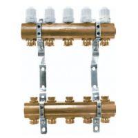 Блок коллекторный 1 на 8 отв. 3/4 с термостатическими вставками и запорными клапанами Euros