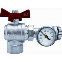 Кран шаровой угловой коллекторный с термометром EUROS 1 1/4 EU.ST6043060 114 (Арт.:EU.ST6043060 114)
