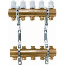 Блок коллекторный 1 1/4 на 5 отв. 3/4 с термостатическими вставками и запорными клапанами Euros