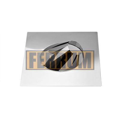 Крышная разделка дымохода угловая (нержавеющая сталь 0,5 мм) Ф80